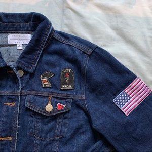 Dark Wash Denim Jacket w/ Cute Patches